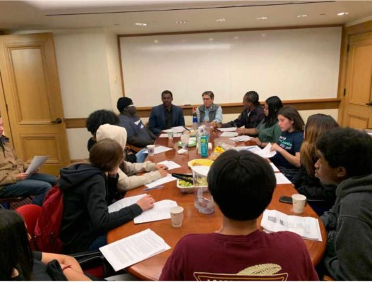 PHOTO: Rebecca Kaplan, Council President and Desmond Jeffries, Policy Director and studentadvocates meet to discuss Youth Vote ballot measure, prior to Shelter in Place in Place.