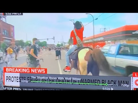 Minneapolis Protests Heat Up After Racist Police Murder Of George Floyd As Man Rides In On A Horse
