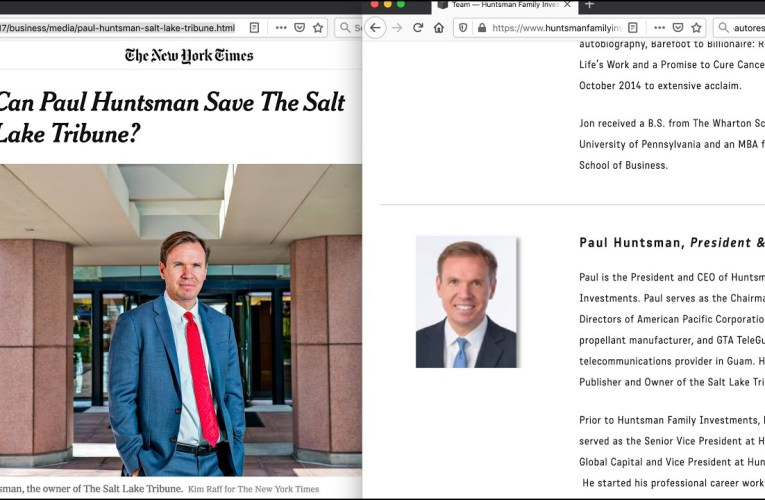 Salt Lake Tribune Takes Govt PPP Loan, Denies Oakland, Coal Industry Aide; Paul Huntsman's Two Step?