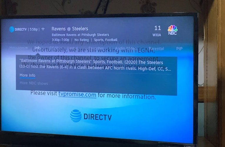 NFL Ravens vs Steelers Game Not On WXIA TV Channel 11 Atlanta Due To Dispute With TEGNA