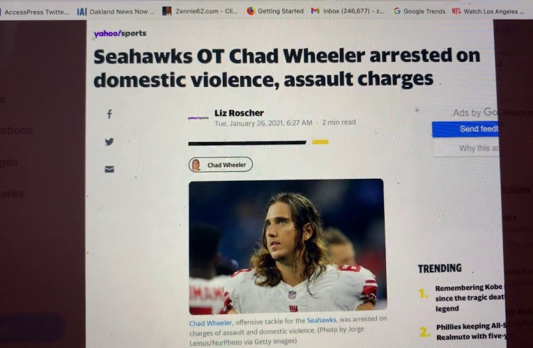 Chad Wheeler, Seattle Seahawks OT Arrested On Domestic Violence Charges, Should Be Out Of NFL