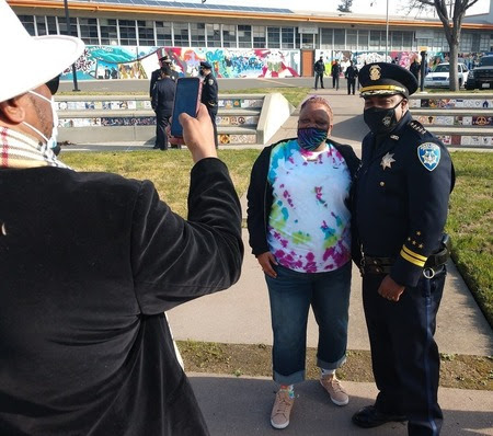 Dozens of people wanted to take photos with the new police chief.