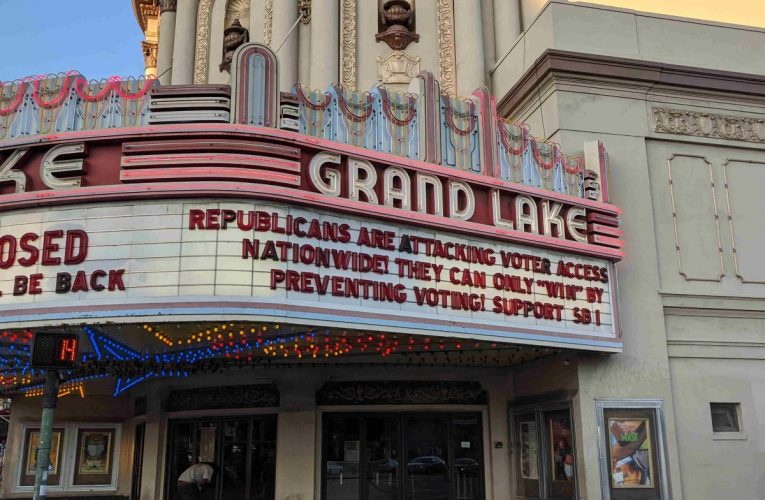 Allen Michaan Back With Grand Lake Theatre Marquee Poking Republicans Attack On Black Voting Rights