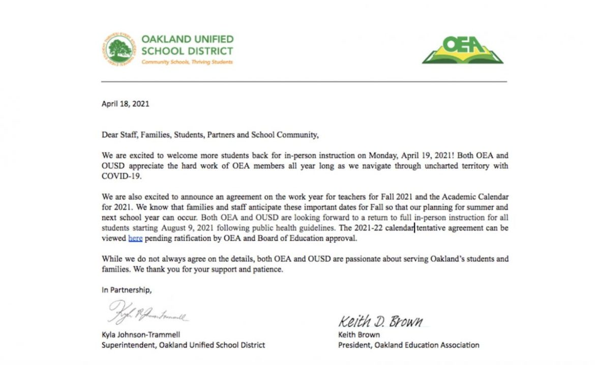 OEA and OUSD Agreement Letter