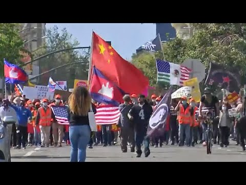 Hundreds Rally in Oakland Against Hate Directed at Asian Americans