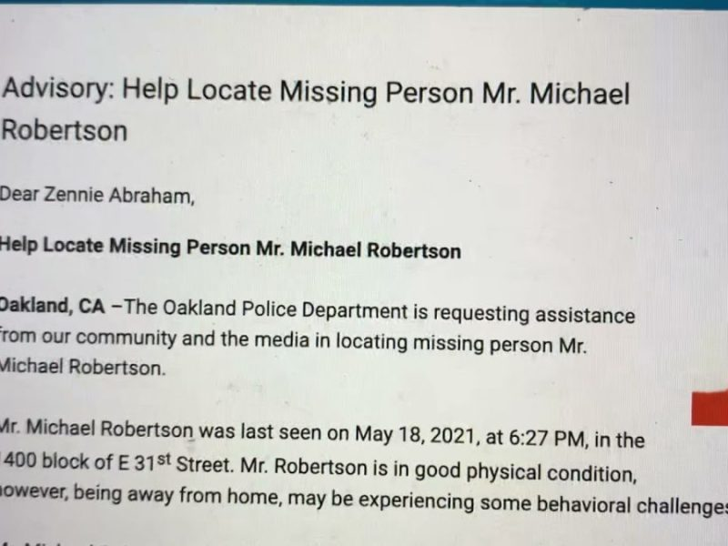Oakland Police Looking For Michael Robertson, Missing Man Known To Hang Around Lake Merritt