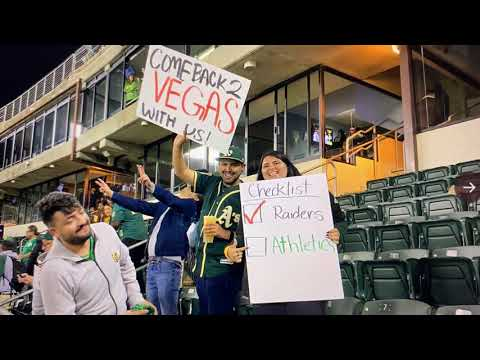 Sign At Oakland Athletics Cleveland Indians Game Asks Athletics To Come To Las Vegas, Join Raiders