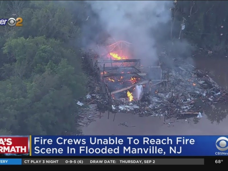 Crews Unable To Reach Scene Of Fire In Flooded Manville, NJ