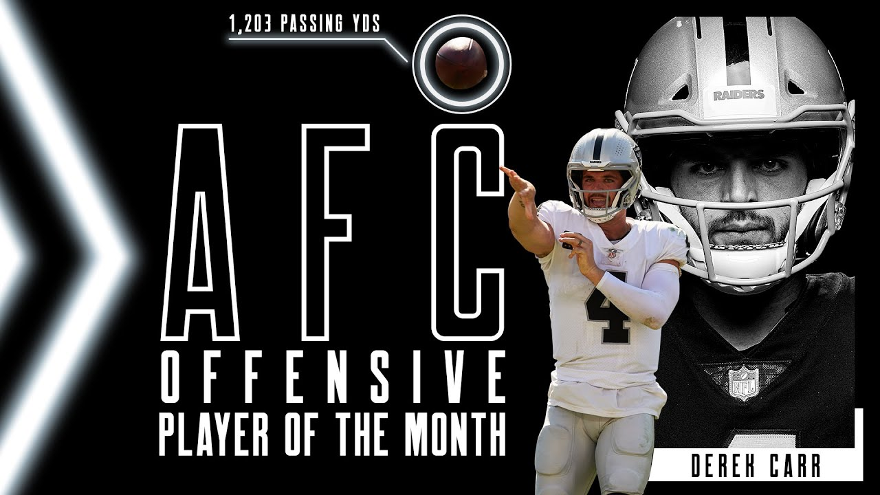 Derek Carr's 1,203 Yards Leads to NFL Offensive Player of the Month for September   Highlights - Blog