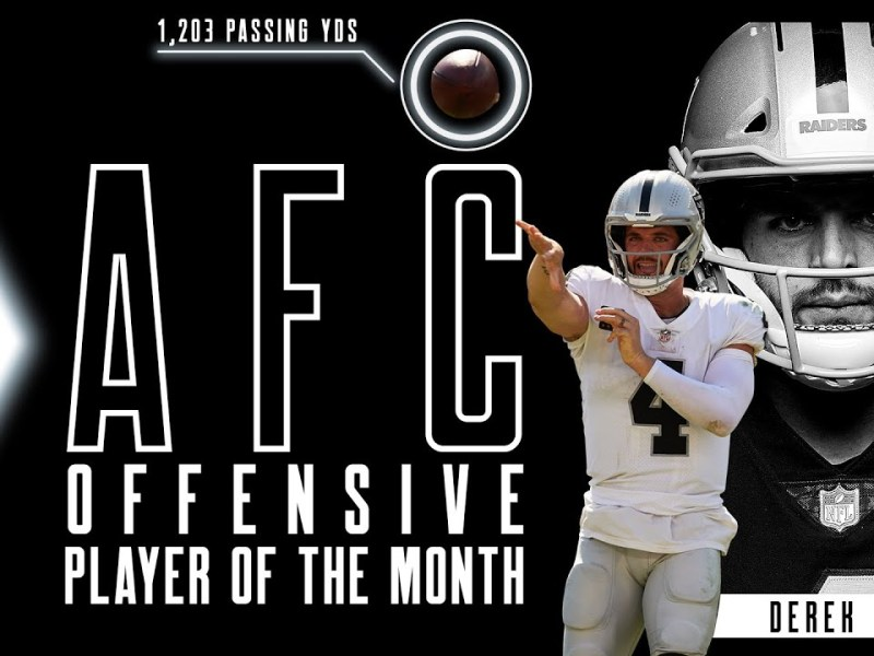 Derek Carr's 1,203 Yards Leads to NFL Offensive Player of the Month for September   Highlights