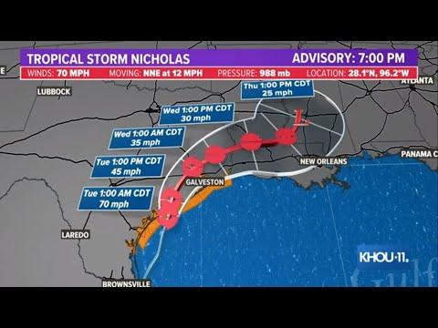 TRACKING NICHOLAS: Downgraded to tropical storm after Texas landfall