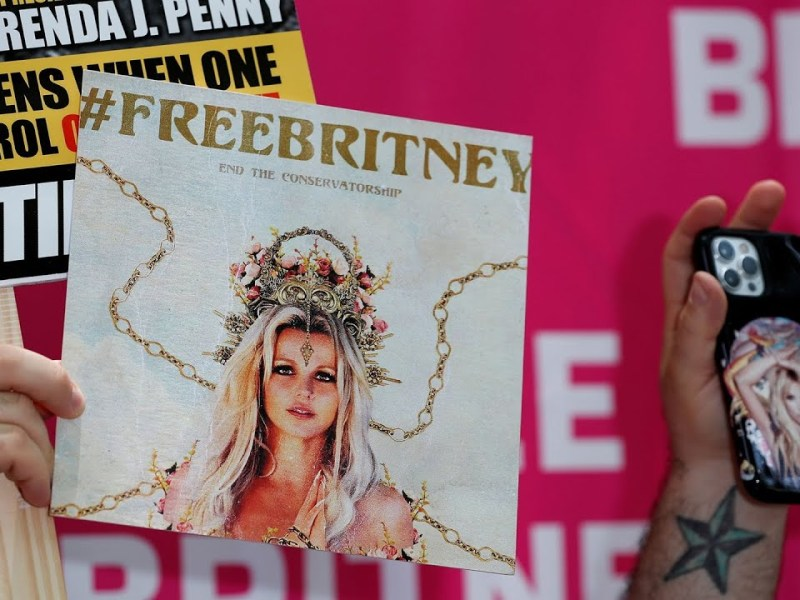 WATCH: People gather outside Britney Spears conservatorship hearing in Los Angeles