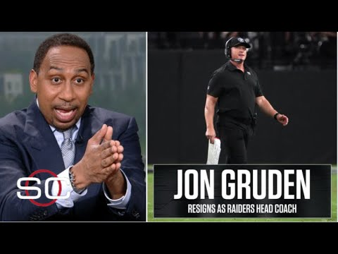 """[BREAKING NEWS] Stephen A. """"on fire"""" Jon Gruden resigns as Raiders head coach after scandal """"racist"""""""