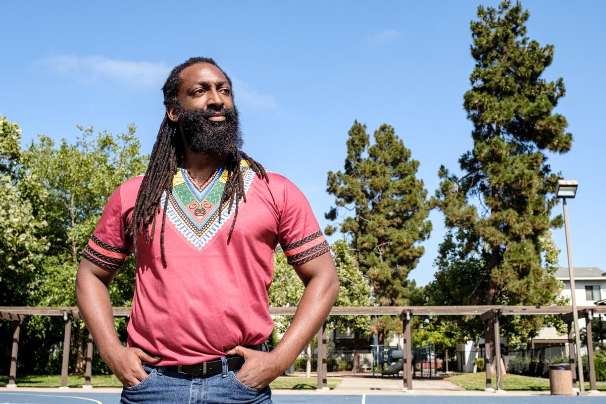 Local artist and dancer Antoine Hunter in West Oakland.