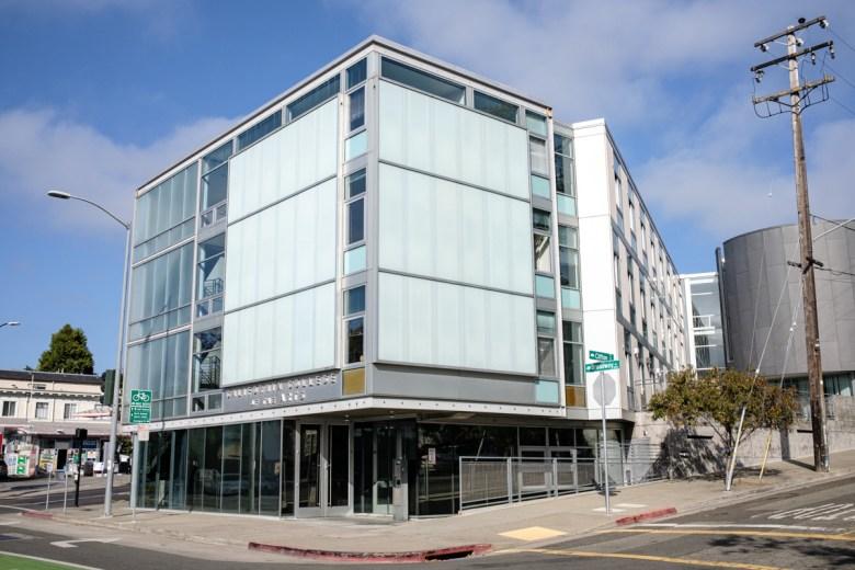 Modern glass building, 4 stories