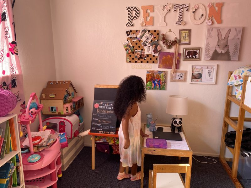 young girl in her room