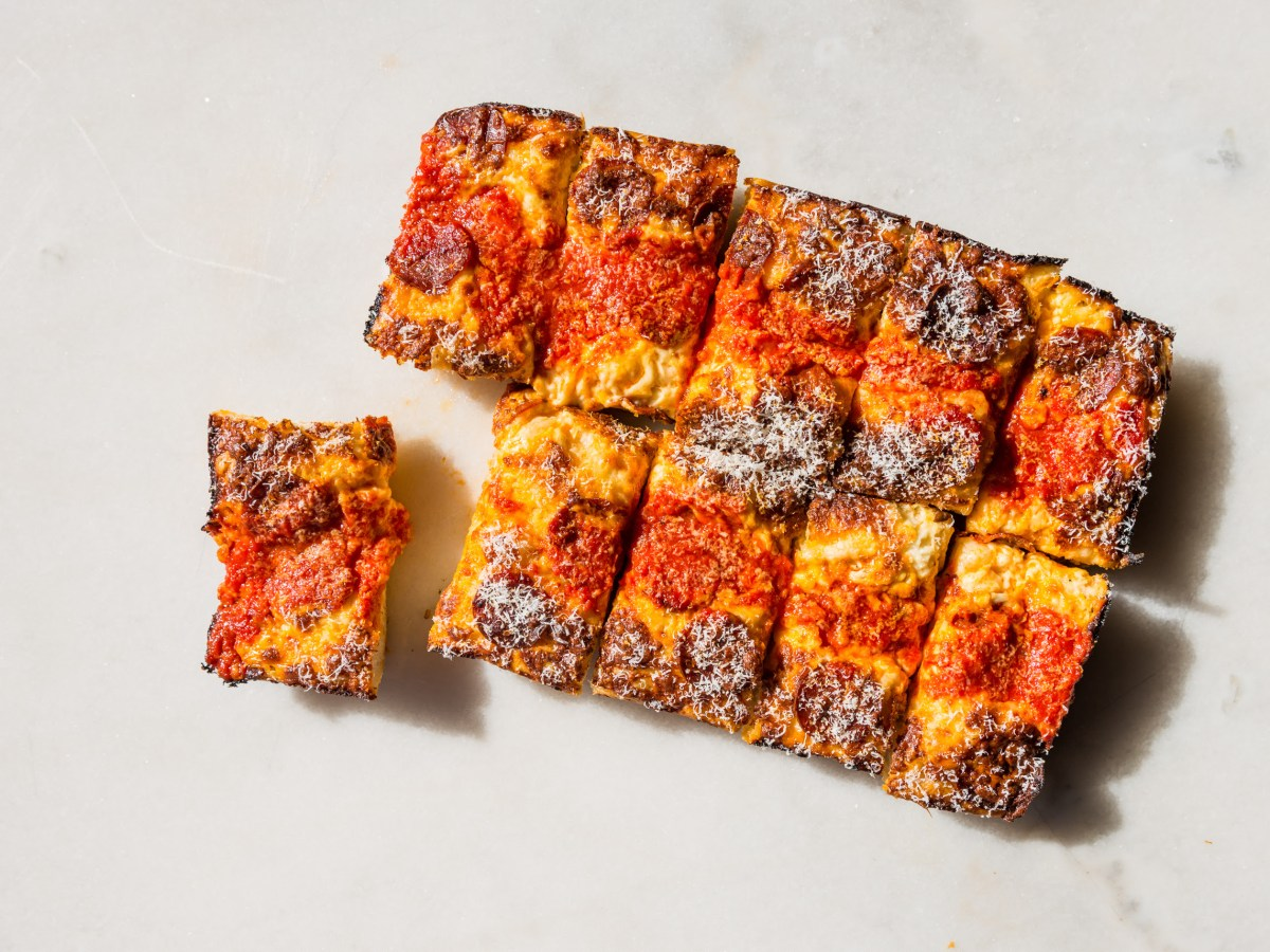 A Detroit-style pizza from Carbona Pizza. Photo: Remy Anthes