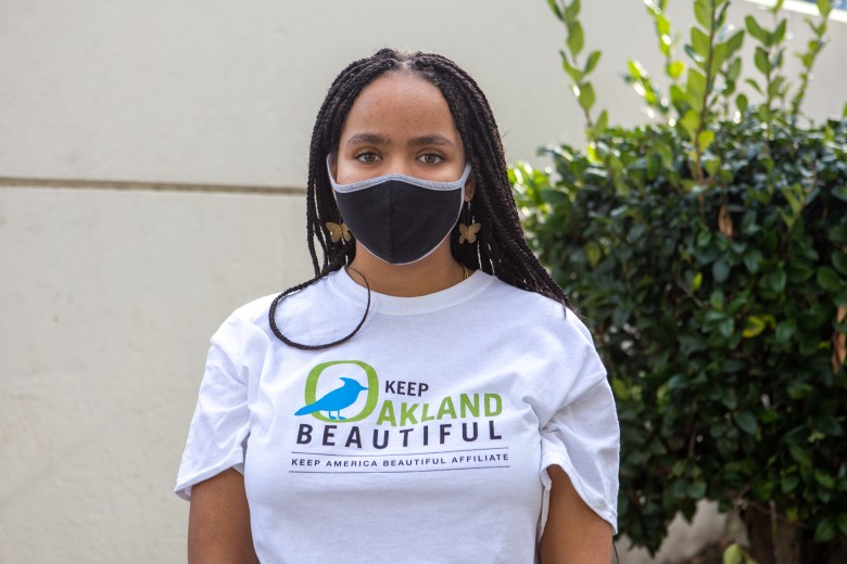 Portraits of High school student Tiara Wilkerson of the Keep Oakland Beautiful Youth Advisory.