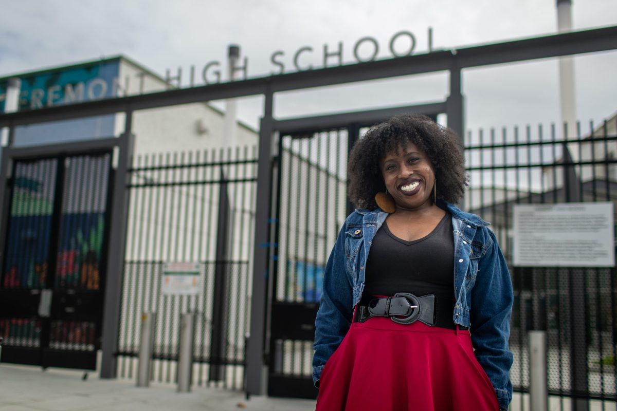 Kehinde Salter, Drama teacher on campus at Fremont High School.