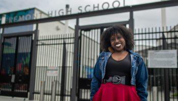 Kehinde Salter, Drama teacher on campus at Fremont High School.