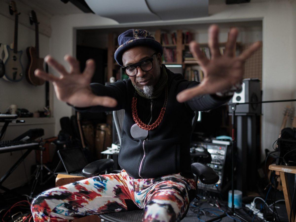 Afro-Cuban jazz pianist, Omar Sosa in a Bay Area studio.