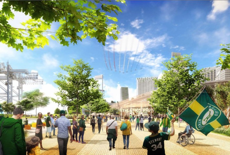 An illustration shows pedestrians accessing the proposed new A's ballpark at Howard Terminal on foot.