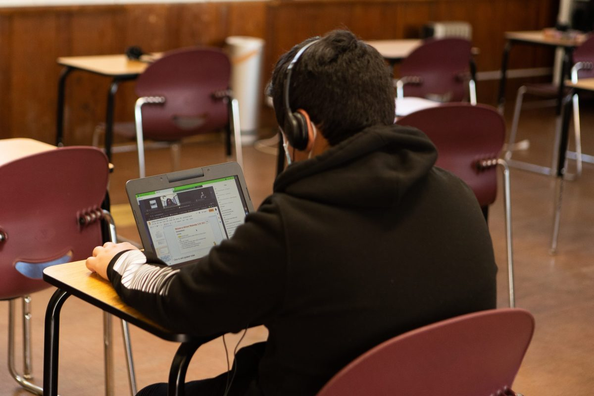 Computers are loaned to students for in-person class where coursework is online.