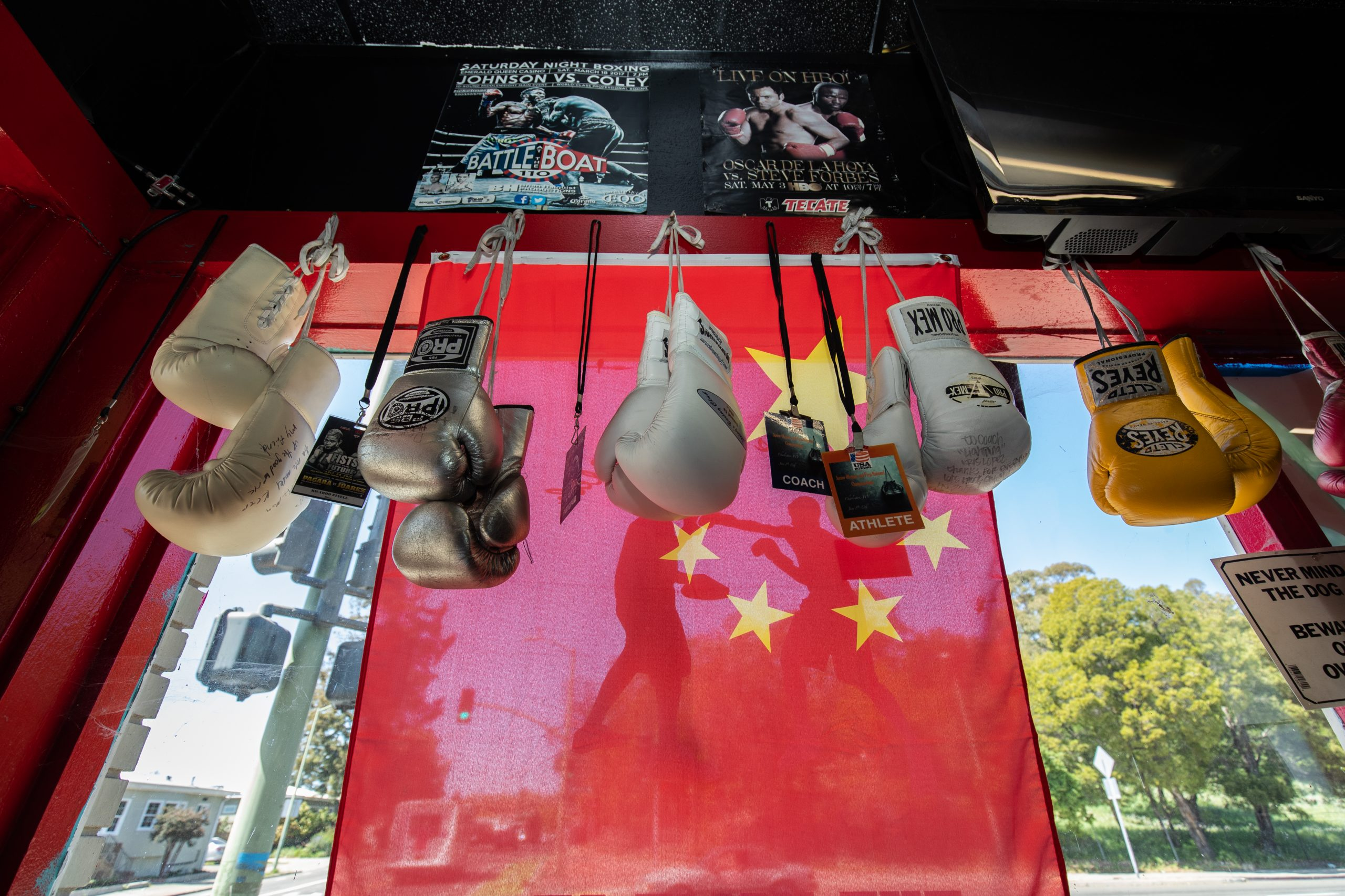 Signed gloves hanging in the window, Lightning Boxing Club, Oakland, CA