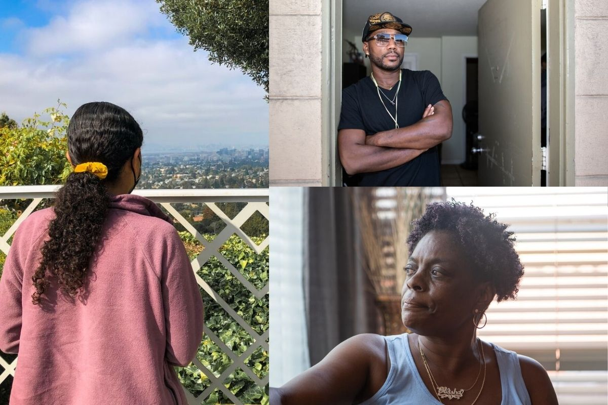Clockwise from left: Karina, Terran Johnson, and Alisha Roe are each participating in Oakland's guaranteed income pilot program.