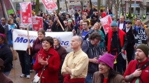 $15 an hour supporters at the March 15 rally