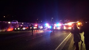cop cars face off against protesters on 580 freeway in Oakland
