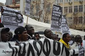 African immigrants in Greece demand their rights.