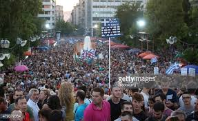 """Greek people rally for """"no"""" vote."""