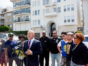 Press conference of tenants last year held to protest raising of rent of their apartments on Lakeshore. Rents went up from $1080/month to $3,870/month!