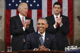 President Obama with VP Biden (l.) and (Republican) Speaker of the House Ryan (r). The two parties play complementary but slightly different roles.