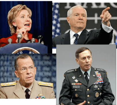 top left clockwise: Hillary Clinton, Robert Gates, David Petraeus, Mike Mullen. These four formed a team that represented the more aggressively militaristic strategy within the first Obama administration.