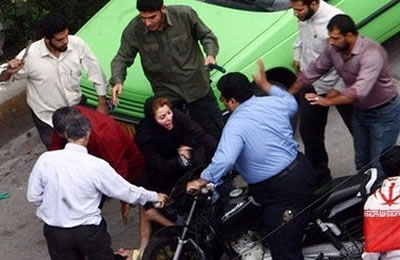"Iranian plain clothes police beat woman celebrating International Women's Day in 2016. How can the Iranian regime possibly be participating in any ""liberation"" of Syria?"