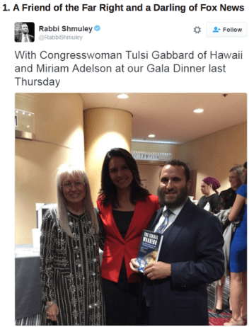 Gabbard happily posing with the wife of far right winger, Sheldon Adelson.