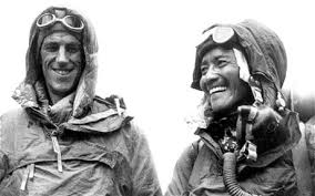 Edmund Hillary (left) and Tenzing Norway (right). These were the first to people to reach the top of Mt. Everest. Tenzing - the Sherpa - went ahead, reaching the peak first, but Hillary got most of the credit... and money.