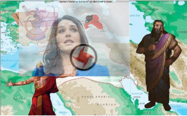 Tulsi Gabbard. She was a guest of the SSNP in Syria. Note the Swastika-like insignia of this fascist party.