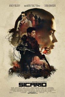"Film poster advertising ""Sicario,"" starring Emily Blunt, Josh Brolin and Benicio Del Toro (Movie poster from imdb.com)."
