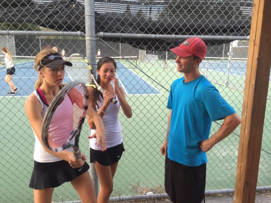 Coach+Carl+Joyce+talks+to+students+Savannah+Gann+and+Sabrina+Stone+%28Courtesy+of+Natalie+Dobrinska%29.