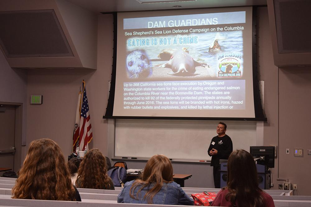 Kevin Yzaguire, member of Sea Shepard, gave a presentation to students in G9, Jan 25. Yzaguire's goal was to raise awareness about Ocean Conservation and ways to solve the problems in oceans today (Nick Burt/Talon).