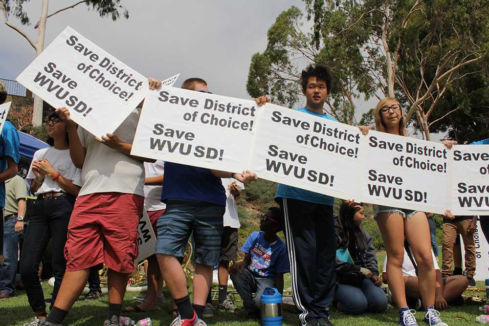 People gather to protest the removal of the DOC bill. Approximately 10,000 California students are directly affected by the bill (Nick Burt/Talon).