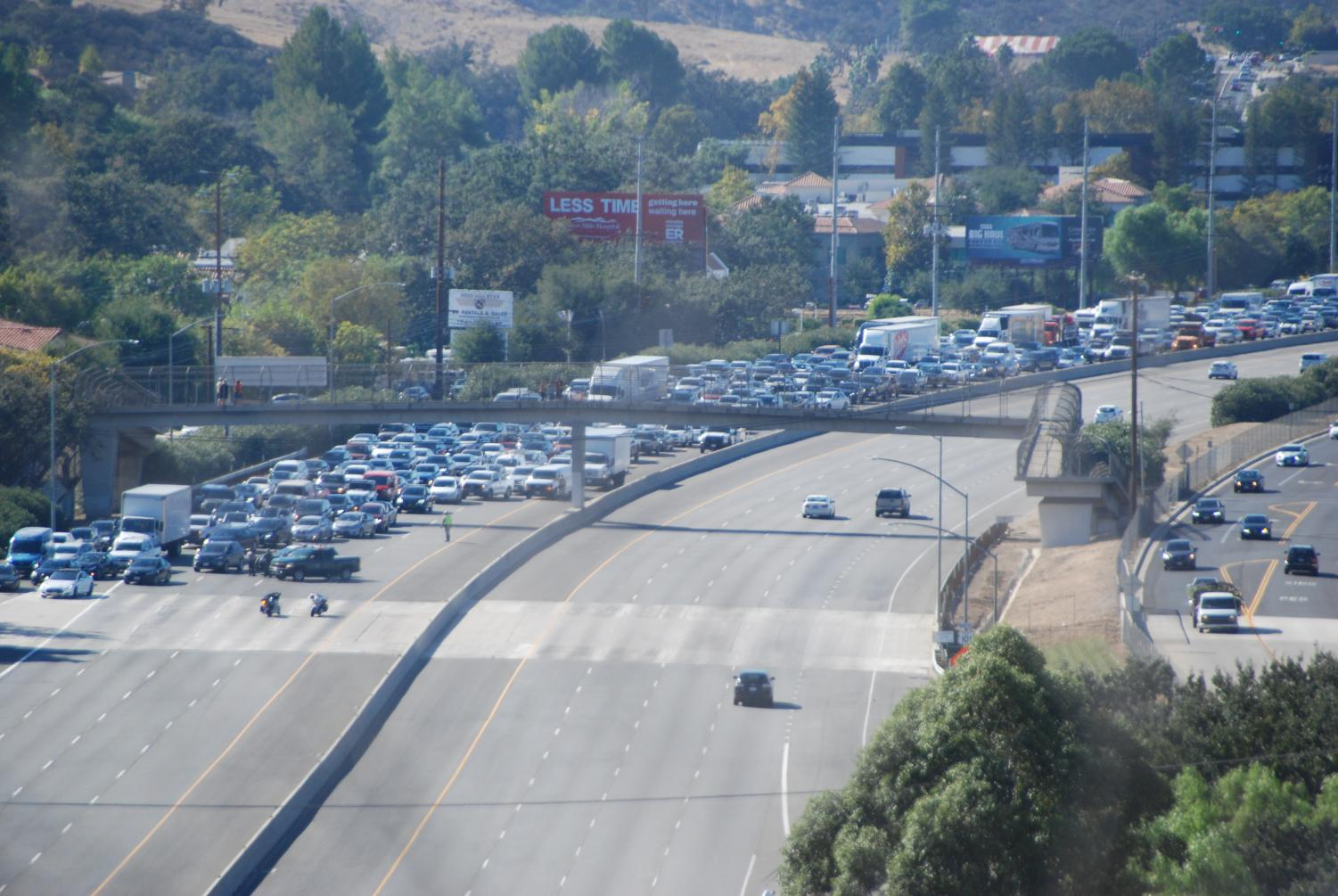Due to the plane crash on the 101 freeway, many students were forced to wait until the traffic cleared for their parents to arrive and were offered pizza by the school