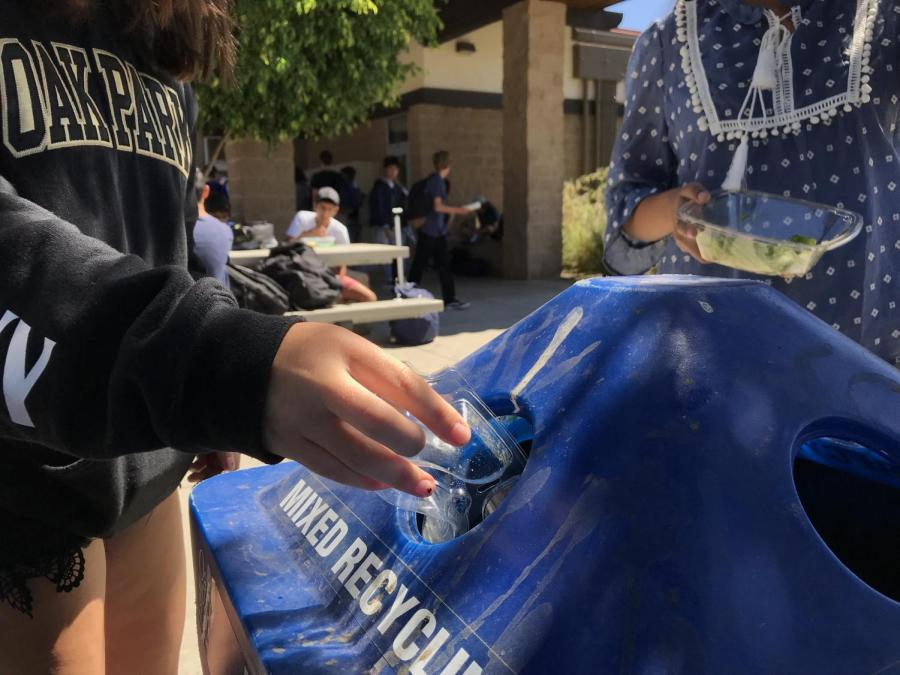 Across the school there are sets of trash cans for reducing waste that reflect the image of an environmentally-conscious campus