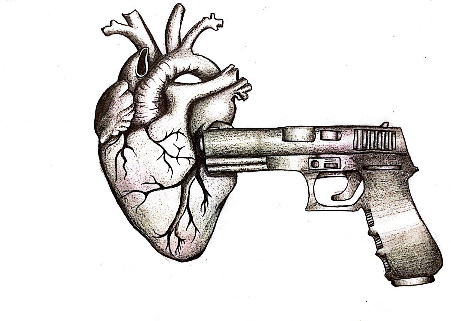 The picture shown depicts a gun being crammed into a beating heart
