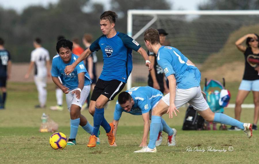 Senior Quinn Matulis plays mid-field for his Real So Cal Academy team
