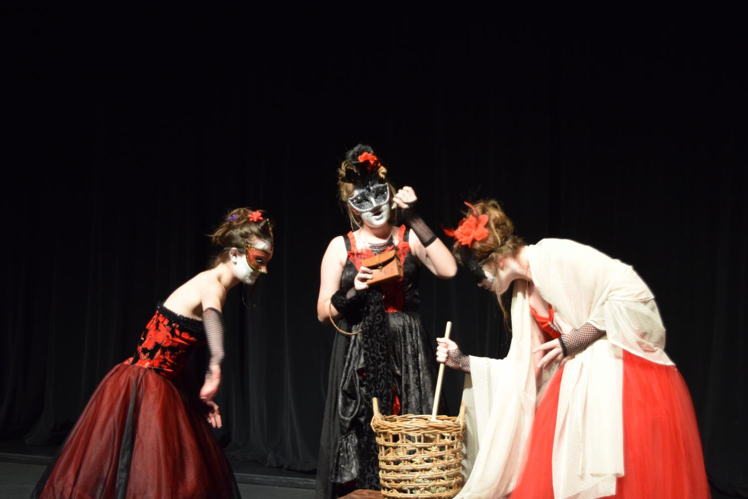 Students Atlee Phillips, Camryn Counsil and Maddie Kirby act in Macbeth at Chapfest