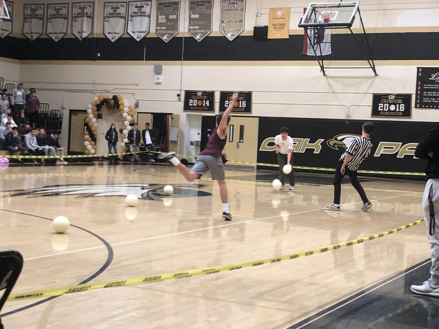 Team Jake Sease, the winners of the Oak Park High School dodgeball tournament, compete in the finals of the tournament. The dodgeball tournament was held by ASB as part of rally week.